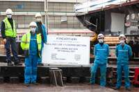 """February 10, 2021. Fincantieri: the keel-laying of the forward section of """"Jacques Chevallier"""", the first of four logistic support units LSS (Logistic Support Ship)"""