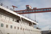 """February 4, 2021.The keel laying of """"Viking Mars"""", the eighth ocean cruise ship which Fincantieri is building for the shipowner Viking, took place at the shipyard in Ancona"""