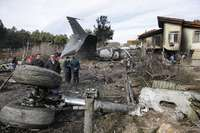 Wreck of Boeing B-707 aircraft that crashed today in Iran